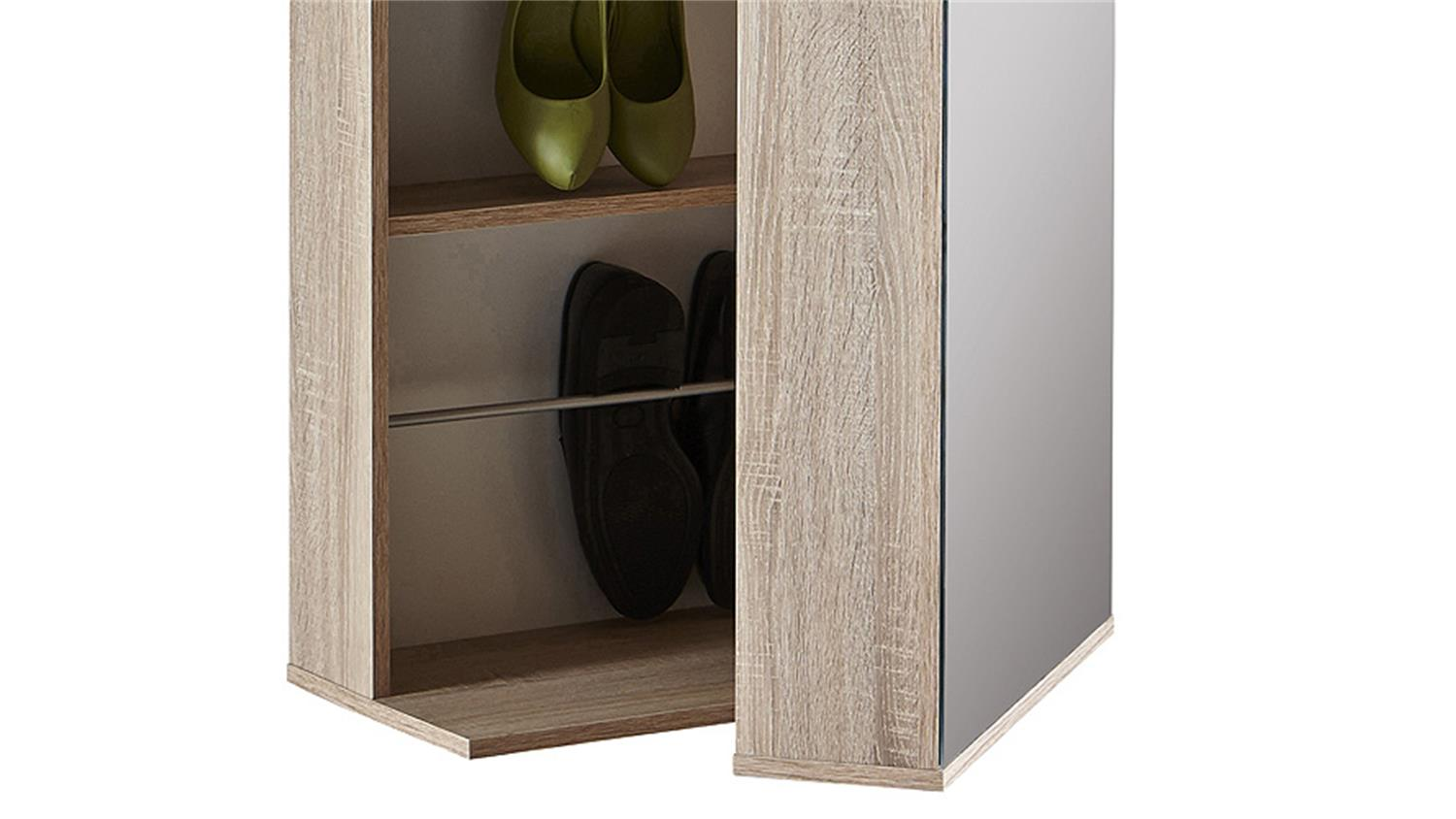 schuhschrank ballerina garderobe sonoma eiche mit spiegel. Black Bedroom Furniture Sets. Home Design Ideas