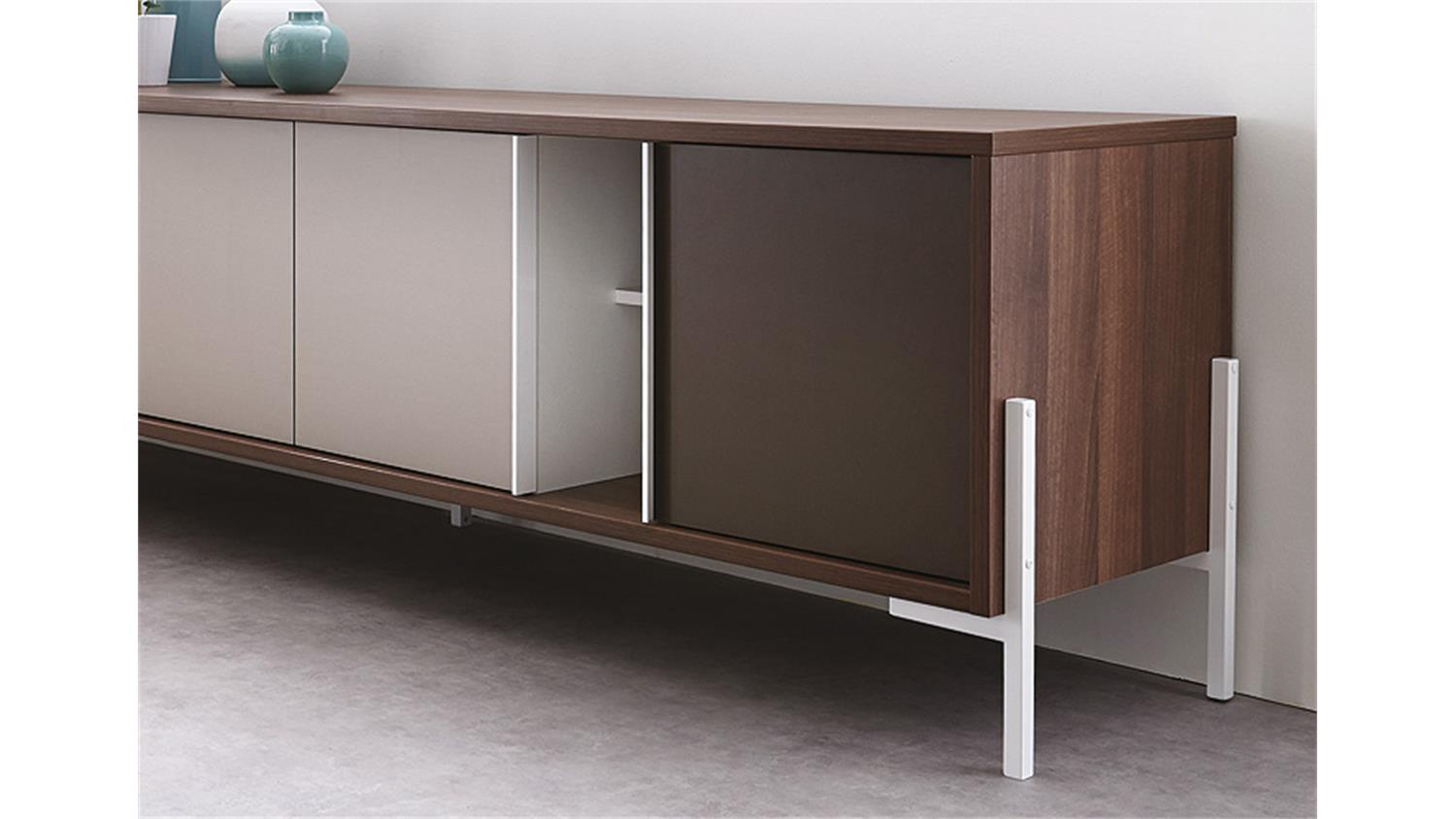 anrichte vogue sideboard lowboard in nussbaum braun und wei. Black Bedroom Furniture Sets. Home Design Ideas