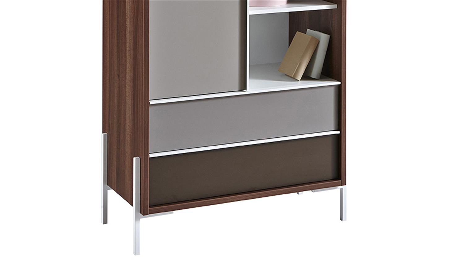 kommode vogue highboard sideboard in nussbaum braun und wei. Black Bedroom Furniture Sets. Home Design Ideas