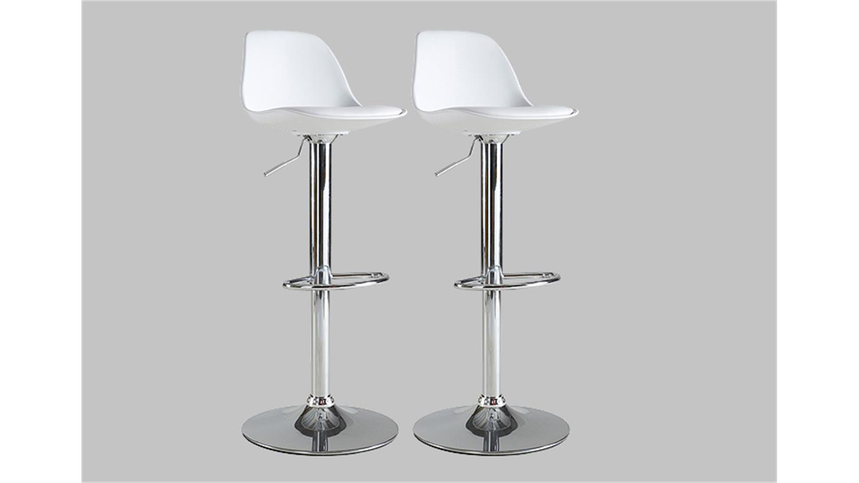 Barhocker 2er Set COCKTAIL Hocker Stuhl in weiß und chrom