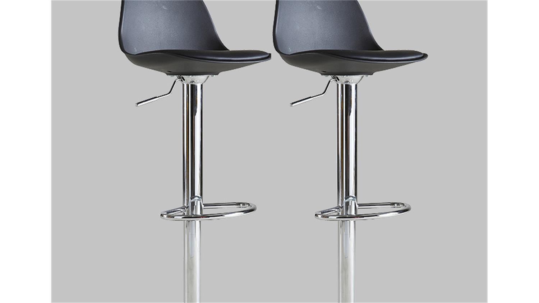 barhocker 2er set cocktail hocker stuhl in schwarz und chrom. Black Bedroom Furniture Sets. Home Design Ideas