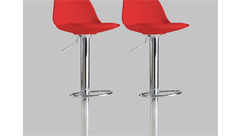 Barhocker 2er set cocktail hocker stuhl in rot und chrom for Barhocker in rot