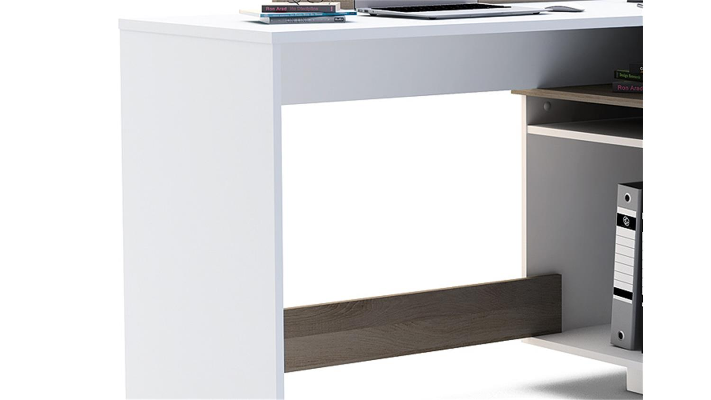 ecktischreibtisch thales schreibtisch perl wei eiche dunkel. Black Bedroom Furniture Sets. Home Design Ideas