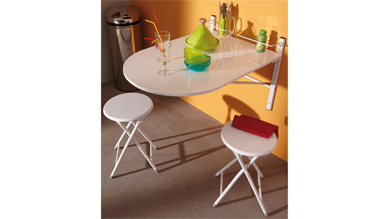 Wandtisch Sinai Klapptisch für Küche in Glanz weiß mit Hockern