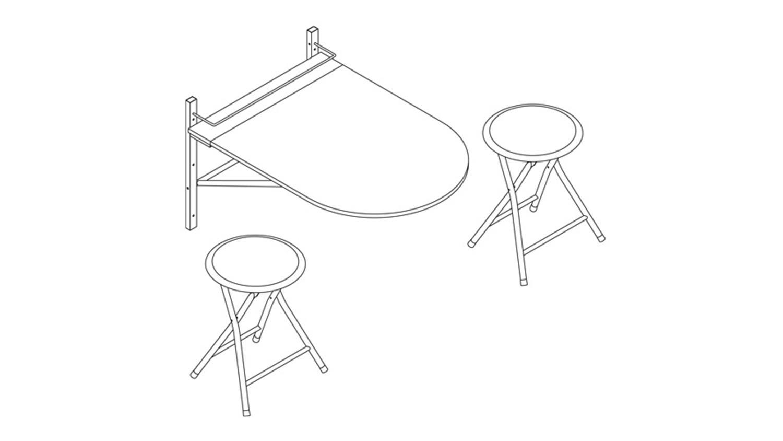 Wandtisch klappbar  SINAI Esstisch Tisch mit 2 Hockern klappbar weiß Glanz