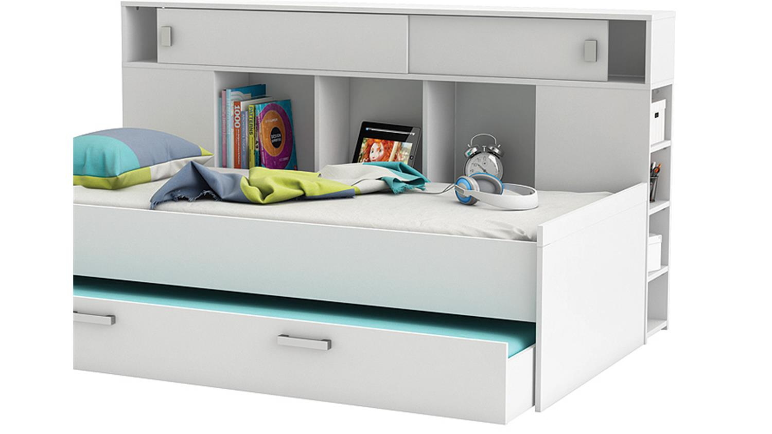 Bett Sherwood Kinderbett Perl Weiss Mit Bettkasten Regal