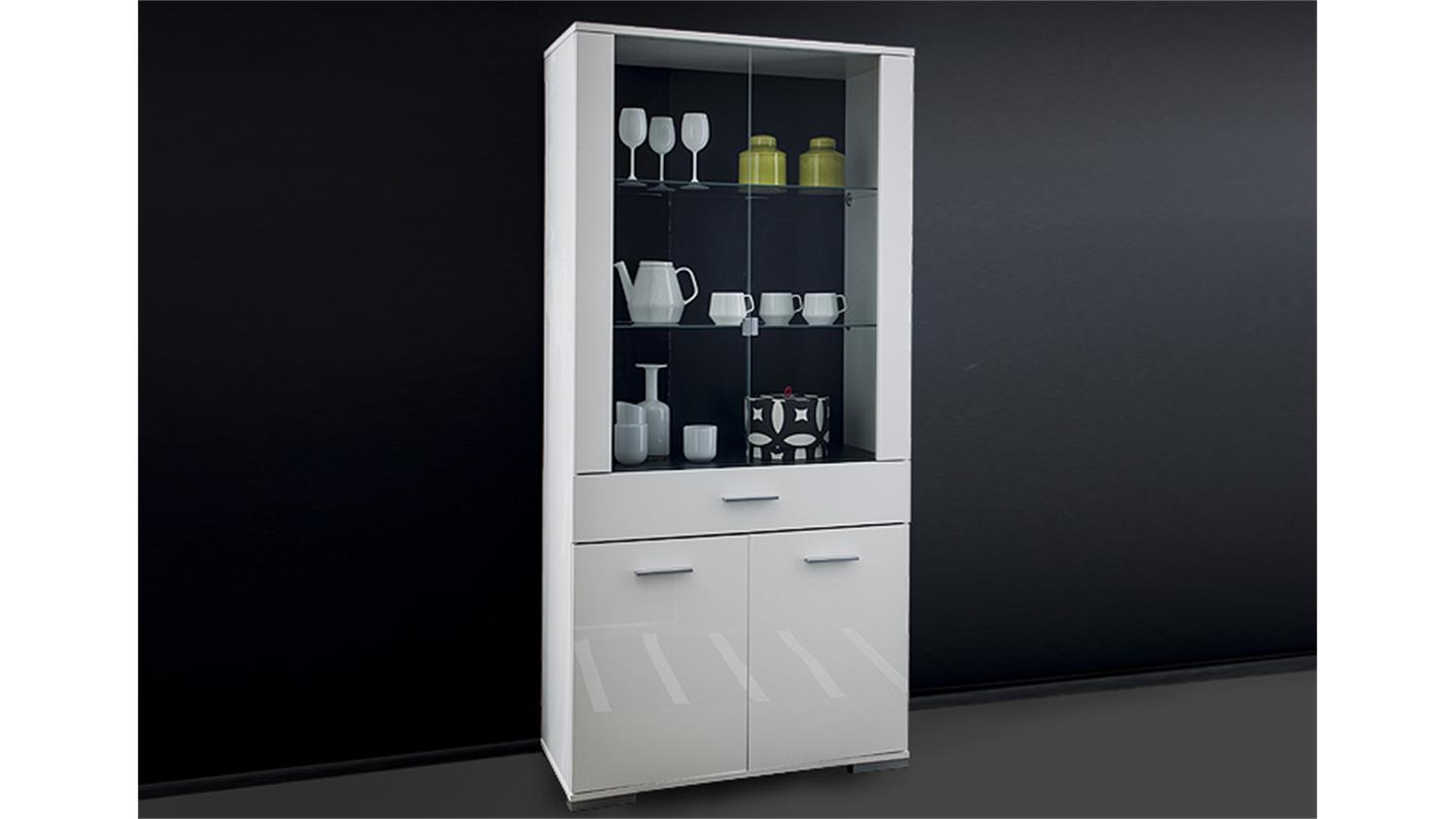 vitrine icy wohnzimmerschrank schrank glasvitrine wei glanz. Black Bedroom Furniture Sets. Home Design Ideas