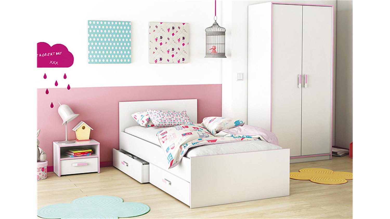 bett switch kinderbett in wei rosa oder blau 90x190 cm. Black Bedroom Furniture Sets. Home Design Ideas
