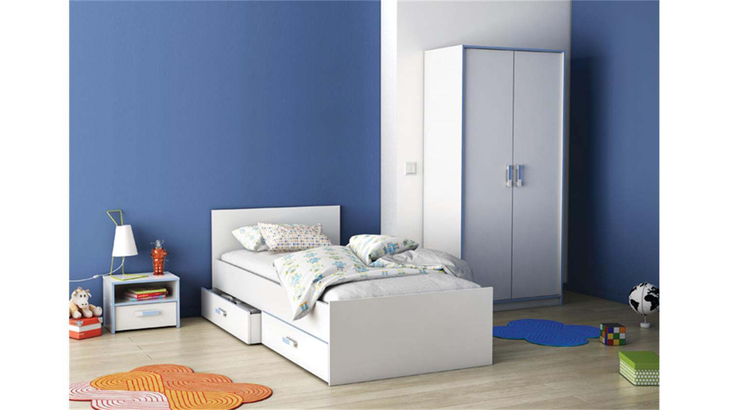 bett switch kinderbett in wei rosa oder blau 90x190 cm. Black Bedroom Furniture Sets. Home Design Ideas