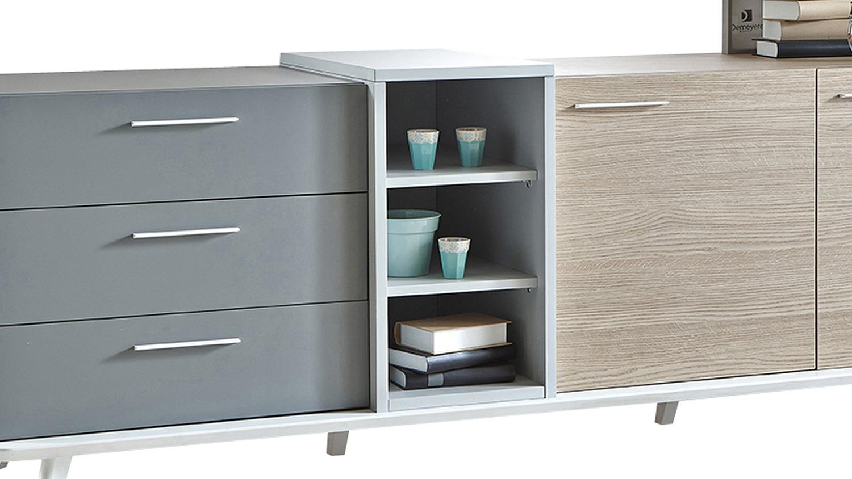 sideboard block kommode eiche aragon wei perl grau. Black Bedroom Furniture Sets. Home Design Ideas
