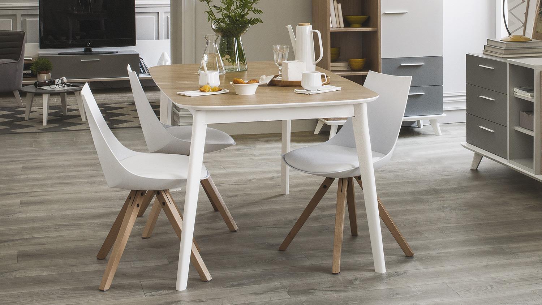 Tischgruppe block milano stuhl tisch wei eiche aragon for Esstisch stuhle weiss