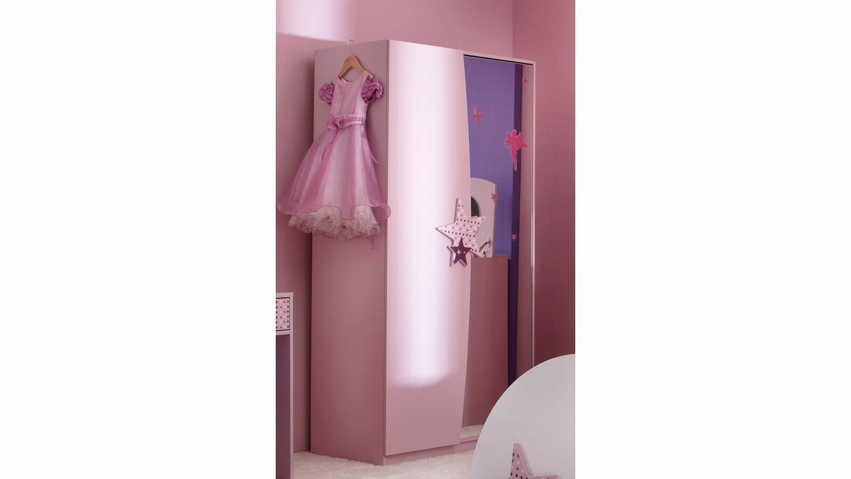 kleiderschrank fee sternen wei flieder lila siebdruck 2 trg. Black Bedroom Furniture Sets. Home Design Ideas
