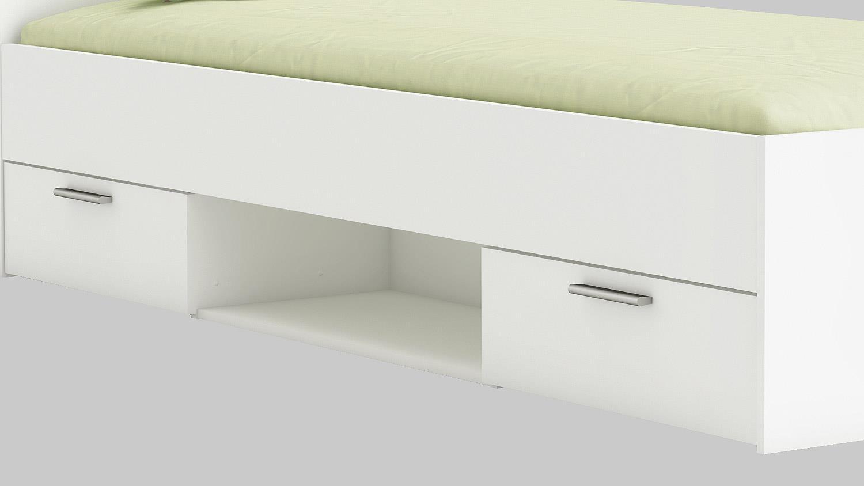 bett michigan perle wei mit schubk sten 90x200 cm. Black Bedroom Furniture Sets. Home Design Ideas