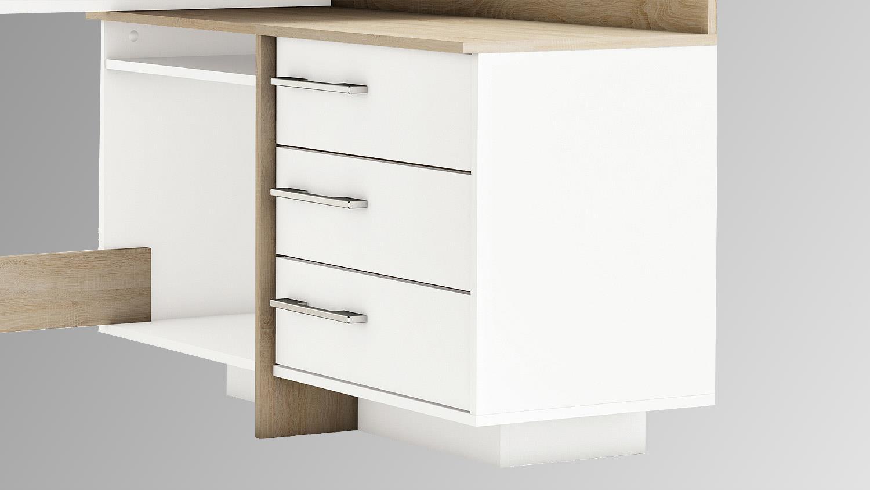 ecktischreibtisch thales schreibtisch sonoma eiche wei. Black Bedroom Furniture Sets. Home Design Ideas