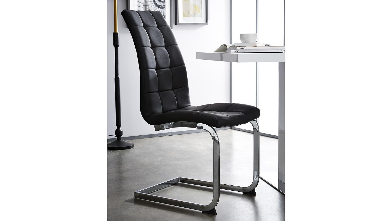 schwingstuhl luano 2er set schwarz und metall verchromt. Black Bedroom Furniture Sets. Home Design Ideas