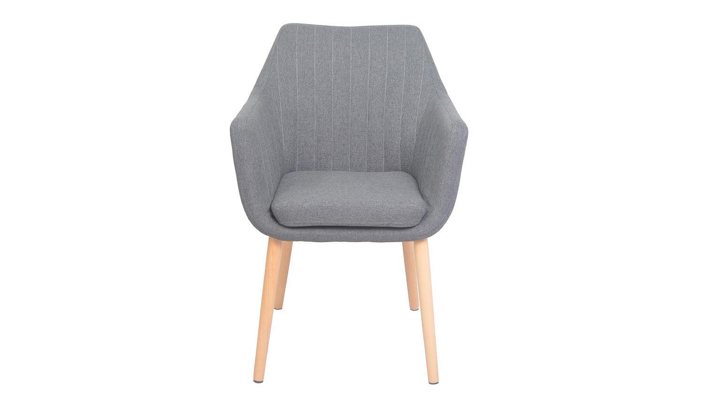 stuhl kina bezug stoff grau gestell massiv mit armlehnen. Black Bedroom Furniture Sets. Home Design Ideas