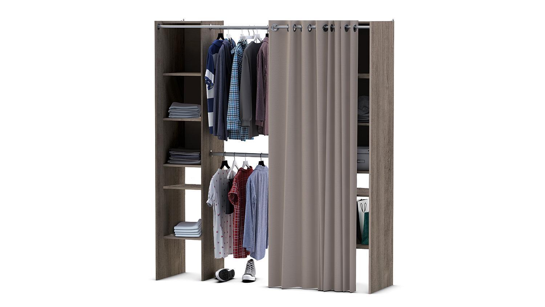 Kleiderschrank Fantastic Prata Eiche Verstellbar Vorhang