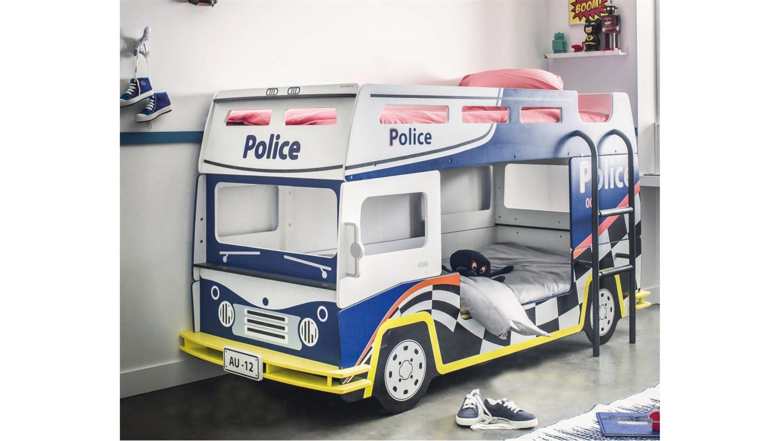Etagenbett Bussy Bewertung : Etagenbett police kinderbett polizeibus in blau und weiß