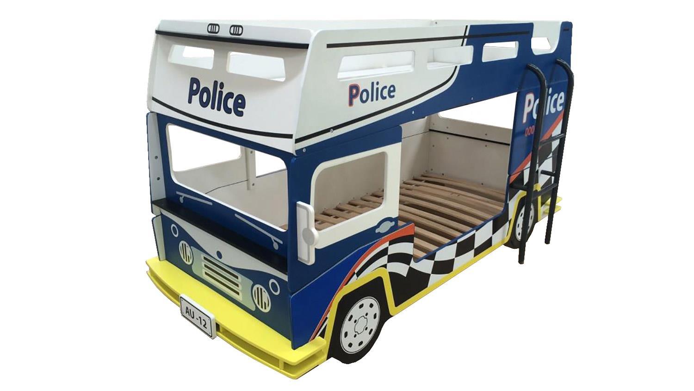 Bussy Etagenbett : Etagenbett police kinderbett polizeibus in blau und weiß