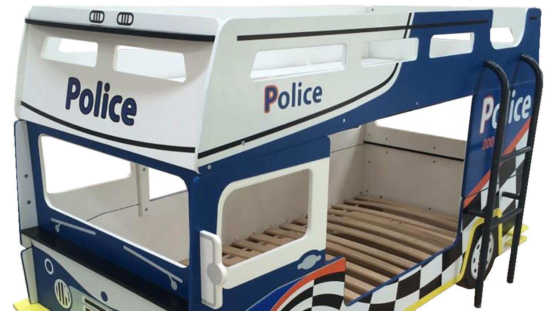 etagenbett police 2er kinderbett als polizeibus in blau und wei. Black Bedroom Furniture Sets. Home Design Ideas