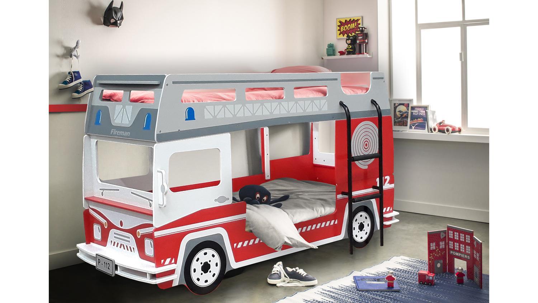 etagenbett pompier feuerwehrauto kinderbett rot und wei 2x 90x200 cm. Black Bedroom Furniture Sets. Home Design Ideas