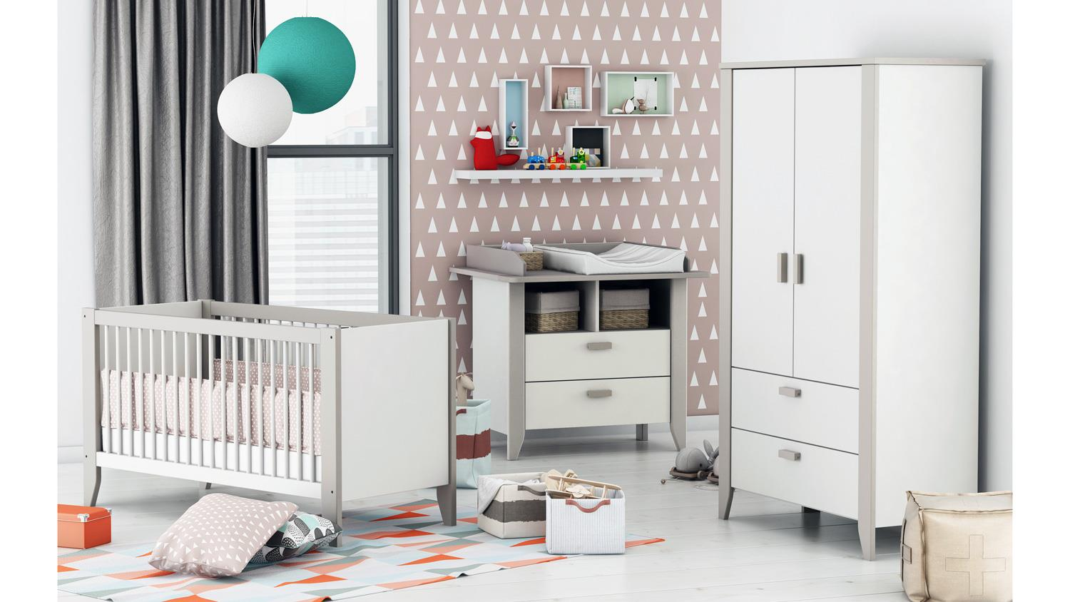 babyzimmer noar kinderzimmer komplett set in wei taupe grau 3 teilig. Black Bedroom Furniture Sets. Home Design Ideas