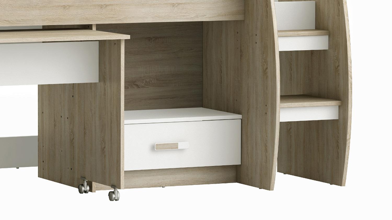 Hochbett Switch Kinderbett Bett Sonoma Eiche Sagerau Weiss 90x200 Cm