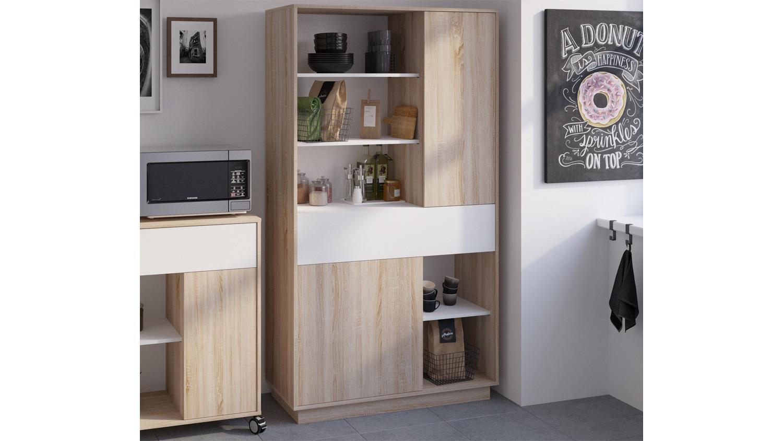 mehrzweckschrank 1 sugar schrank highboard regal in sonoma eiche wei. Black Bedroom Furniture Sets. Home Design Ideas