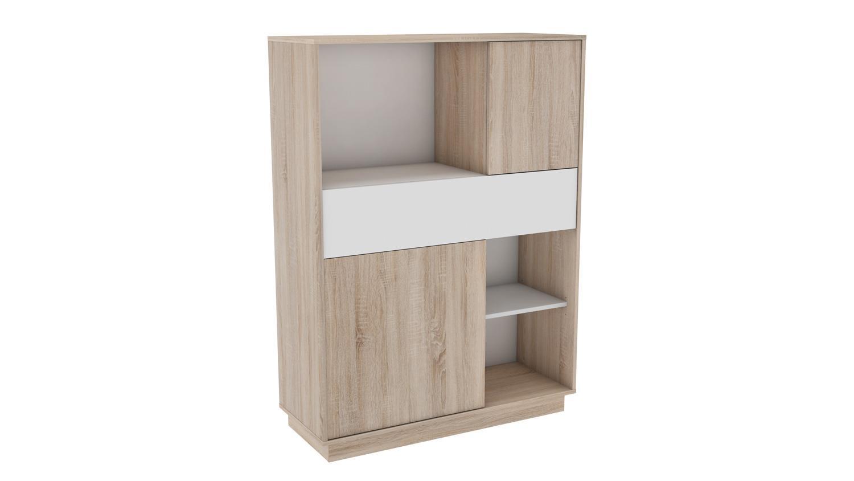 mehrzweckschrank 2 sugar schrank highboard regal in sonoma eiche wei. Black Bedroom Furniture Sets. Home Design Ideas