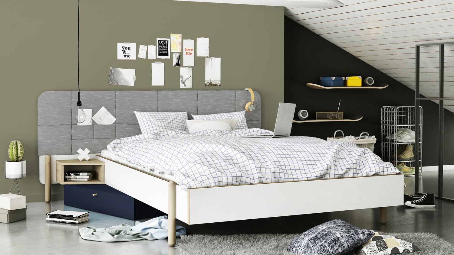 bett swag futonbett bettgestell doppelbett wei stoff grau. Black Bedroom Furniture Sets. Home Design Ideas