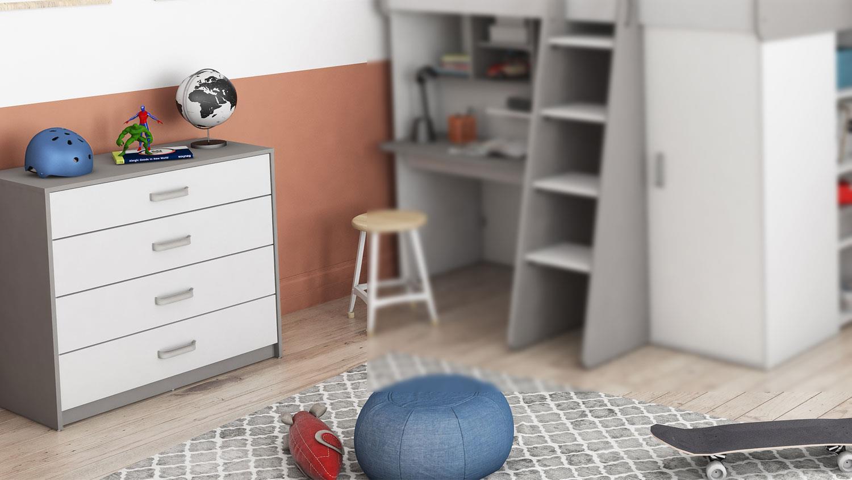 Kommode HAMPTON Kinderzimmer in weiß matt und grau