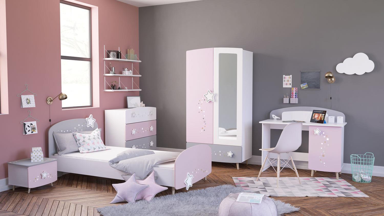kinderzimmer set stella in matt wei grau und rosa. Black Bedroom Furniture Sets. Home Design Ideas