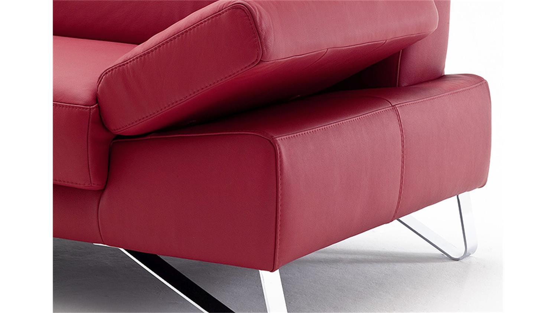 Sofa 2 5 sitzer finest in leder kaminrot mit funktionen 2 sitzer sofa leder