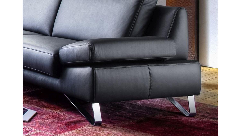 Polstermöbel leder  3-Sitzer FINEST in Leder schwarz mit Funktionen