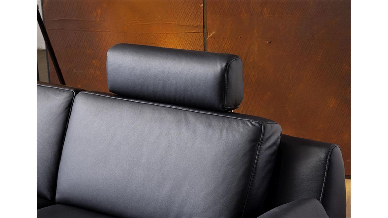 Sofa 2 5 sitzer finest in leder schwarz mit funktionen for Sofa 5 sitzer