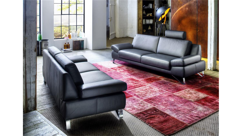 sofagarnitur finest garnitur in leder schwarz mit funktion. Black Bedroom Furniture Sets. Home Design Ideas