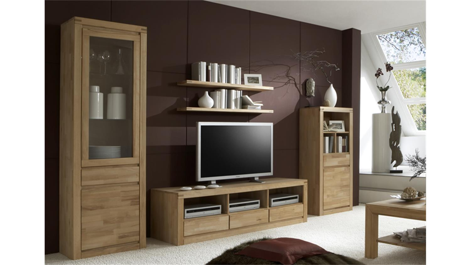 wohnwand delft 2 anbauwand in kernbuche massiv ge lt. Black Bedroom Furniture Sets. Home Design Ideas