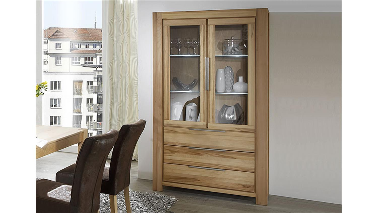 vitrine nena glasvitrine highboard in kernbuche massiv ge lt. Black Bedroom Furniture Sets. Home Design Ideas