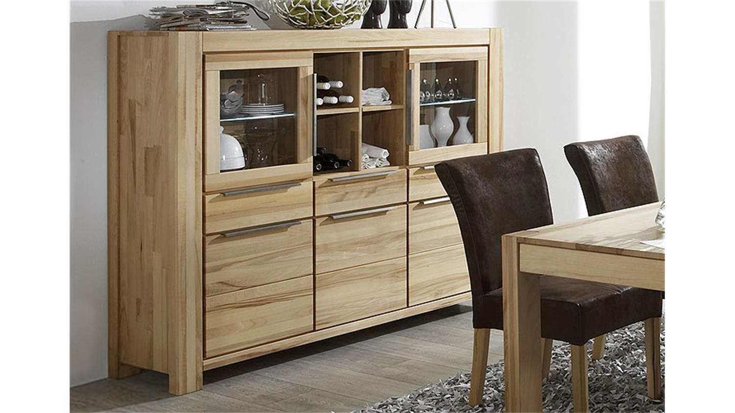 Highboard nena sideboard vitrine in kernbuche massiv ge lt for Instore mobel martin
