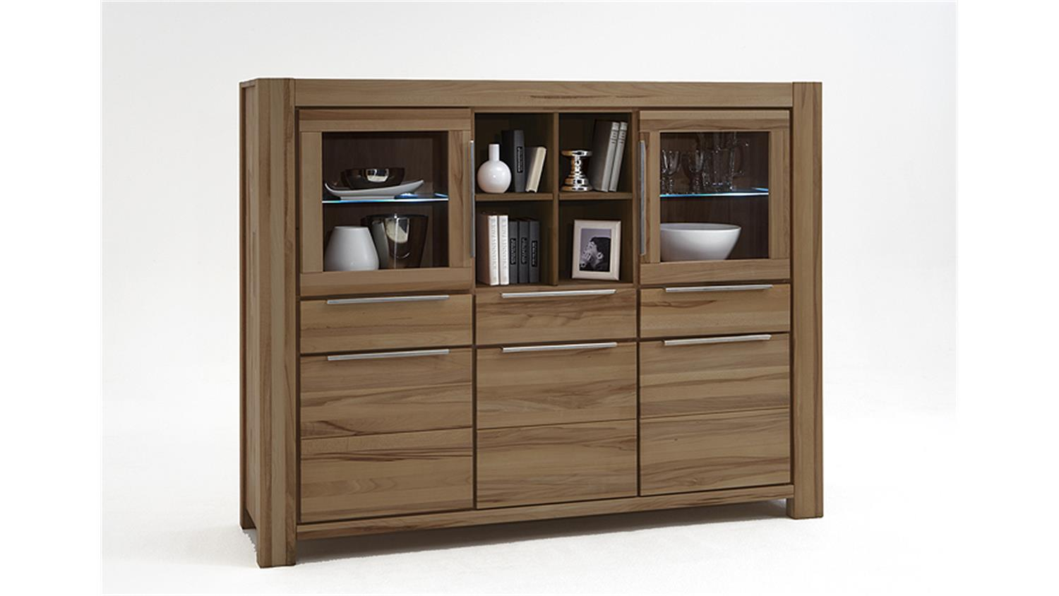 highboard nena vitrine sideboard in wildeiche massiv ge lt. Black Bedroom Furniture Sets. Home Design Ideas