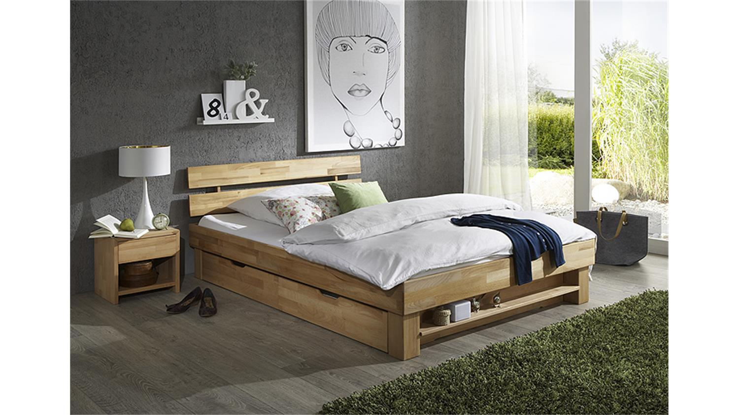 futonbett judith kernbuche massiv ge lt 180x200. Black Bedroom Furniture Sets. Home Design Ideas