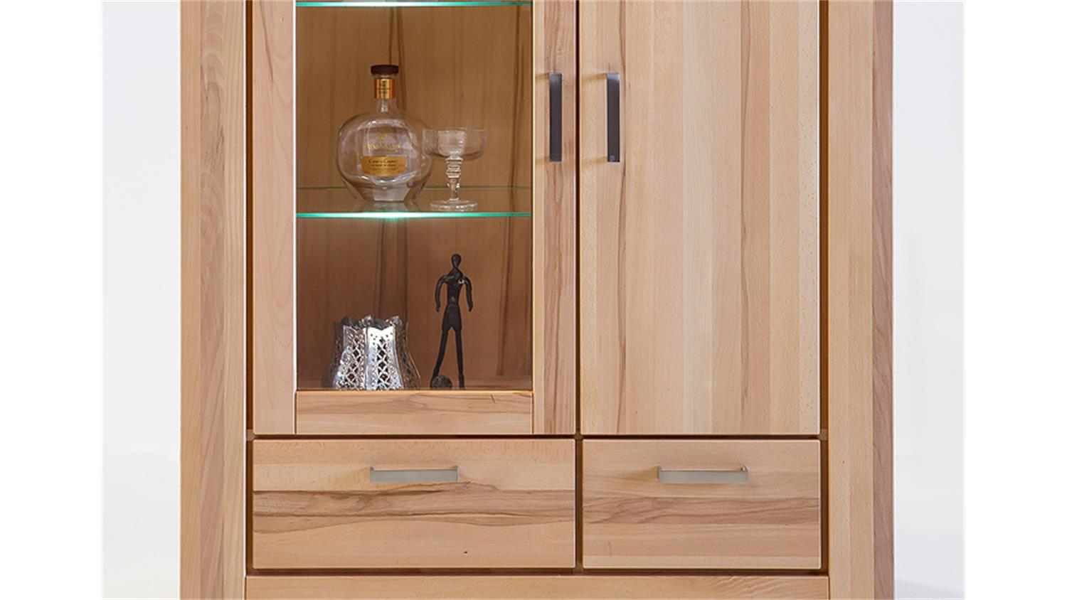 vitrine kira buffet schrank in kernbuche massiv ge lt. Black Bedroom Furniture Sets. Home Design Ideas