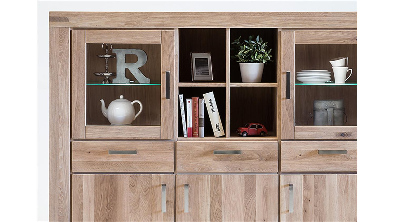 highboard kira vitrine buffet in wildeiche massiv bianco. Black Bedroom Furniture Sets. Home Design Ideas