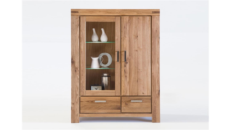 vitrine kira buffet schrank in wildeiche massiv ge lt. Black Bedroom Furniture Sets. Home Design Ideas