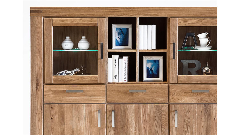 highboard kira vitrine buffet in wildeiche massiv ge lt. Black Bedroom Furniture Sets. Home Design Ideas