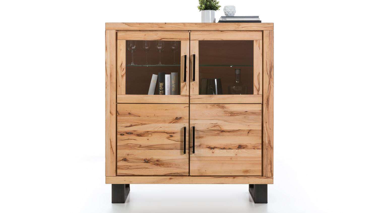 vitrine leife highboard schrank in buche massiv und metall. Black Bedroom Furniture Sets. Home Design Ideas