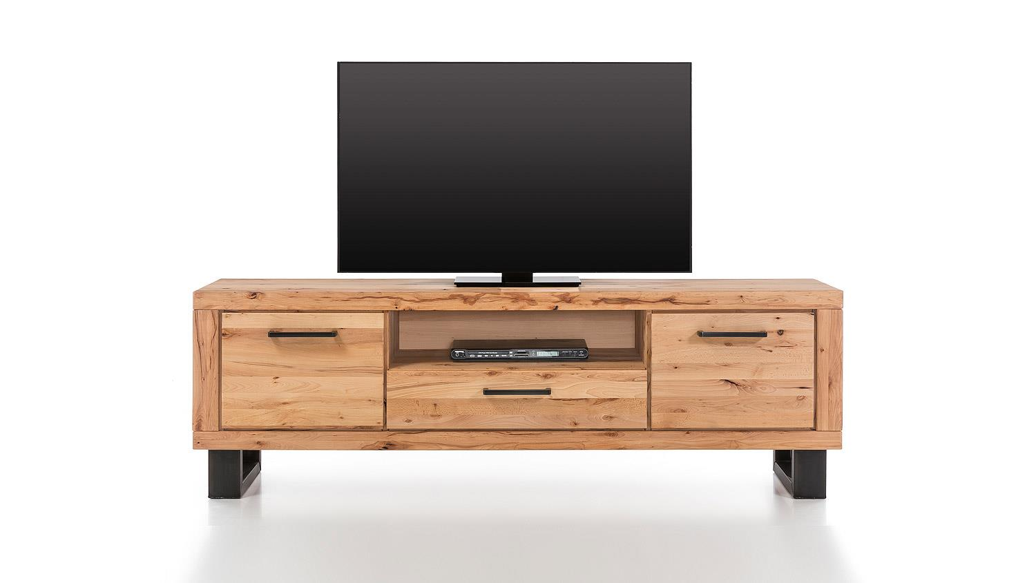 tv board leife lowboard kommode in buche massiv und metall schwarz. Black Bedroom Furniture Sets. Home Design Ideas