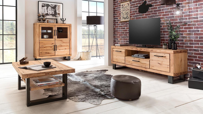 couchtisch leife beistelltisch u form buche massiv metall. Black Bedroom Furniture Sets. Home Design Ideas