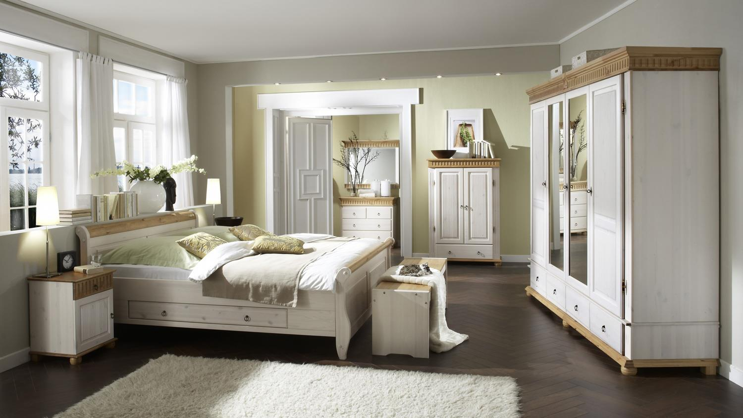 bett malta kiefer massiv wei antik 200x200 mit schubkasten. Black Bedroom Furniture Sets. Home Design Ideas