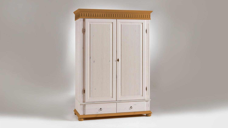 Kleiderschrank HELSINKI Kiefer massiv Weiß Antik B 138 H 199
